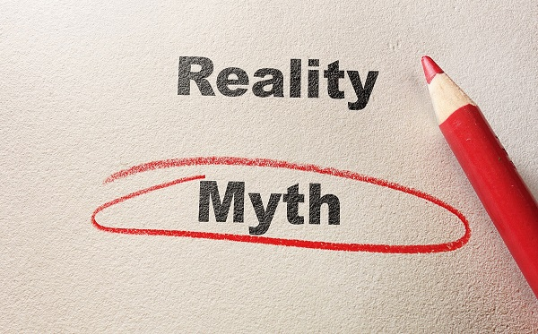 "Reality vs. Myth typed on paper with the word ""Myth"" circled by a red pencil"